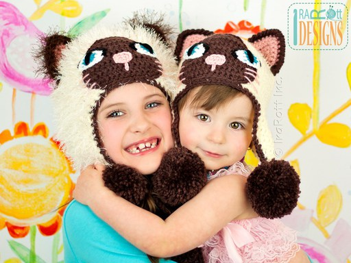 Siamese or Tuxedo Kitty Animal Hat Crochet Pattern for boys and girls of all sizes by Irarott