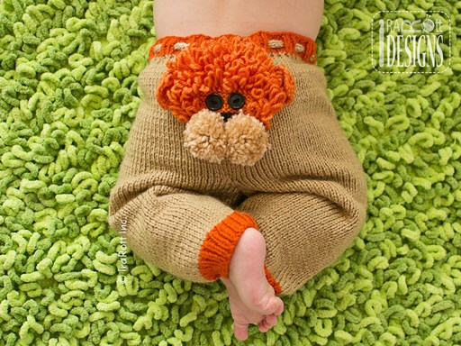 PDF Knit Pattern for making adorable Baby Pants with Lion,Alien,and Owl Faces