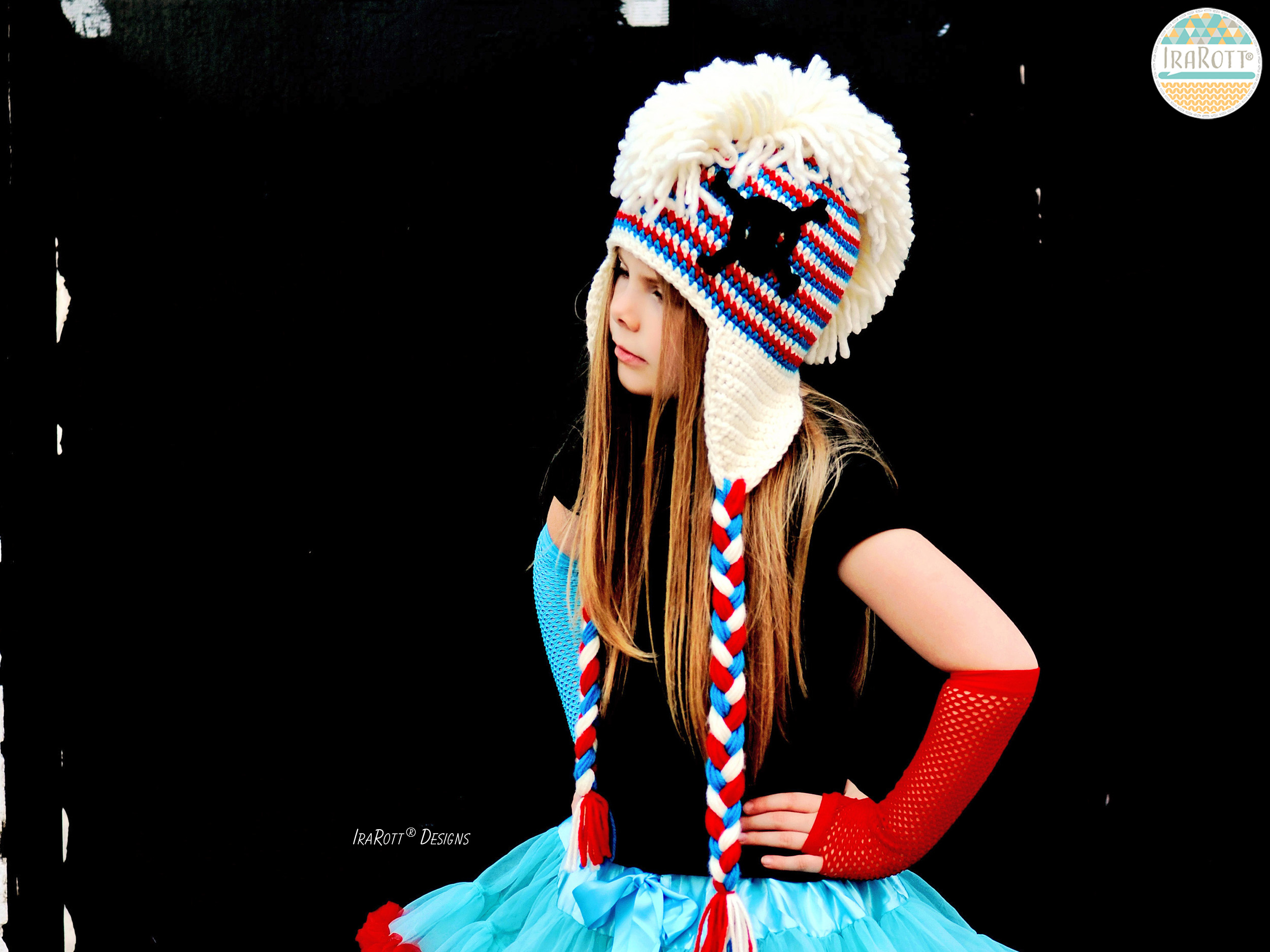 Skull And Crossbones Punk Hat With Mohawk Pdf Crochet Pattern