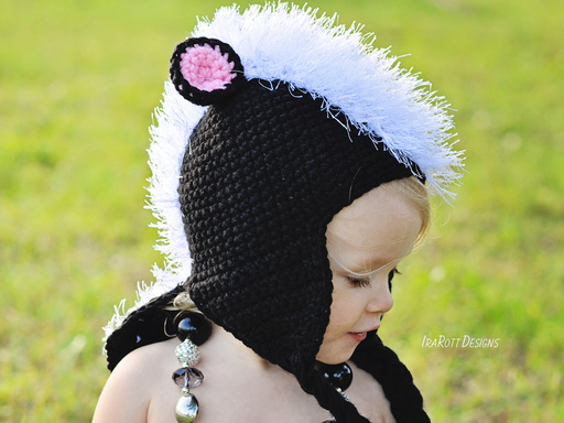 PDF Crochet Pattern for making a cute Skunk Hat with Furry Mane and Tail for all sizes.