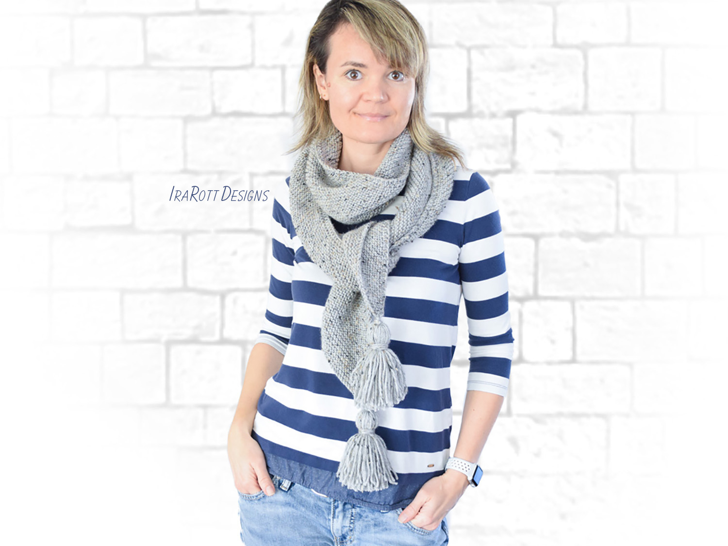 Slanted Scarf Ileane PDF Knitting Pattern With Instant Download by IraRott