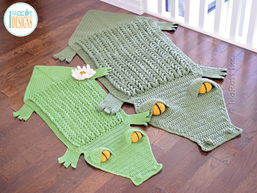 Crochet Pattern PDF for making an awesome Alligator Animal Rug or Crocodile Reading Mat using crocodile stitch