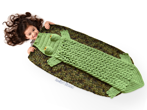 Snappy Simon Crocodile Sleeping Bag or Blanket PDF Crochet Pattern by IraRott