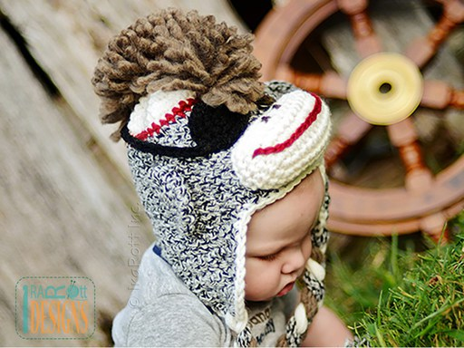 Pirate Sock Monkey Animal Hat Crochet Pattern for Babies Kids and Adults by IraRott