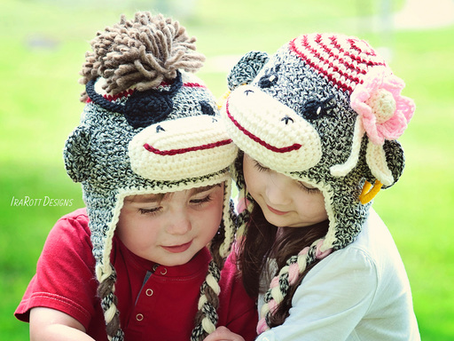 Pirate Sock Monkey Animal Hat Crochet Pattern for Boys or Girls by IraRott