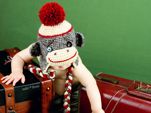 PDF Crochet Pattern for making a Classic Sock Monkey Hat for all sizes and a Matching Toy.