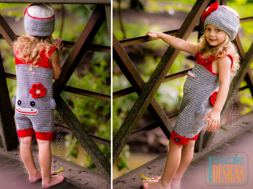 Crochet Pattern PDF for making a Classic Sock Monkey Hat Romper and Jumpsuit Costume for Kids and Babies by IraRott Inc.