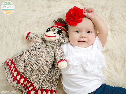 Classic Sock Monkey Lovey Security Blanket Crochet Pattern for baby boys and girls by IraRott