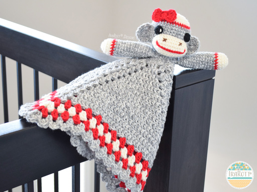 Classic Sock Monkey Lovey Security Blanket Crochet Pattern