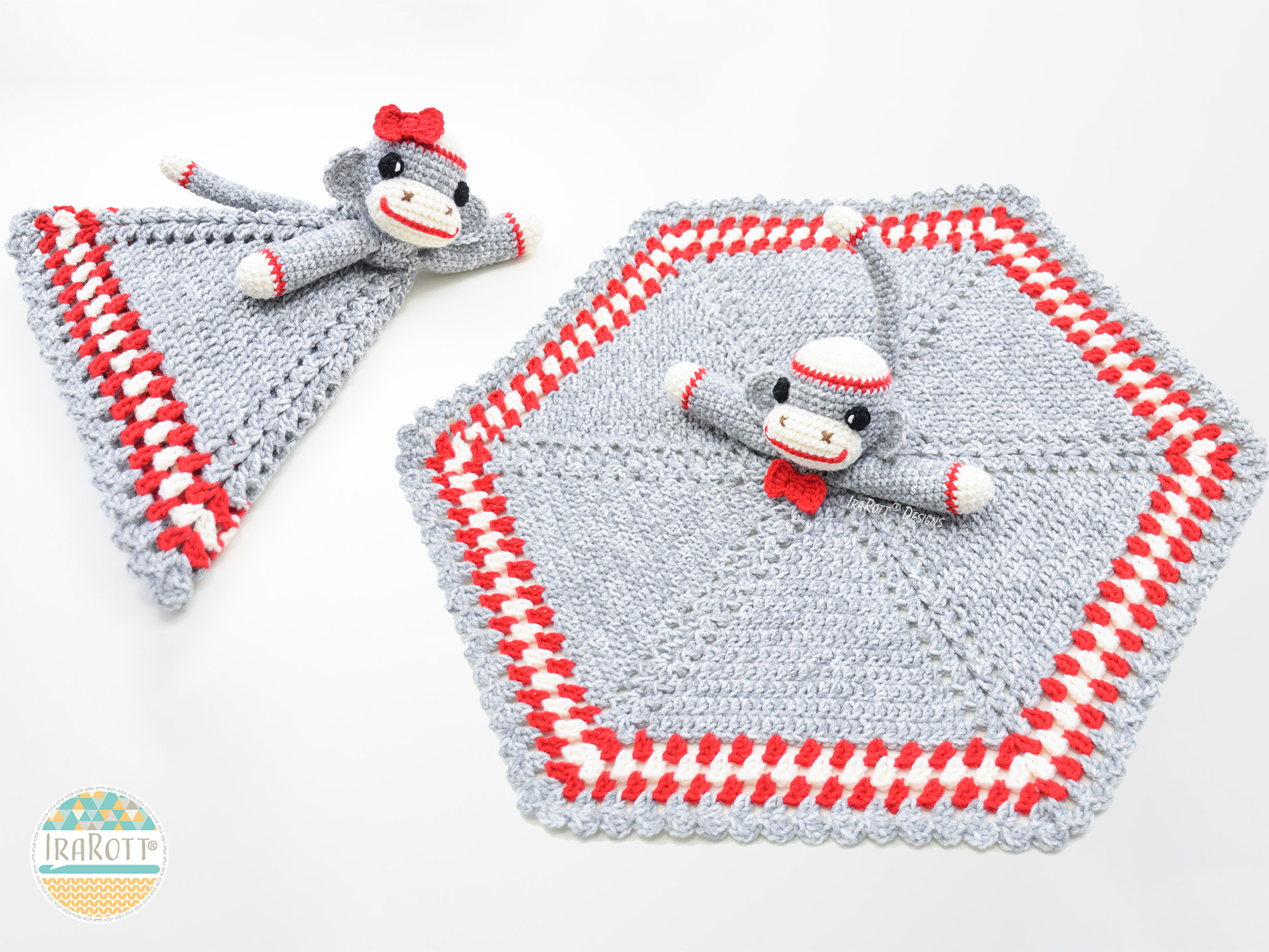 Classic Sock Monkey Snuggle Blankey Security Blanket Pdf Crochet