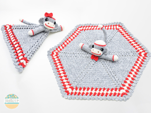 Classic Sock Monkey Animal Lovey Security Blanket Crochet Pattern for Babies and Kids