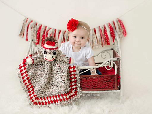 PDF Crochet Pattern for making an adorable Calssic Sock Monkey Lovey Security Blanket for Kids and Babies.