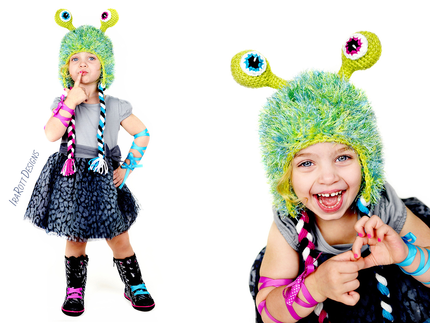 Alien Monster Hat Crochet Pattern boys and girls of all ages by IraRott