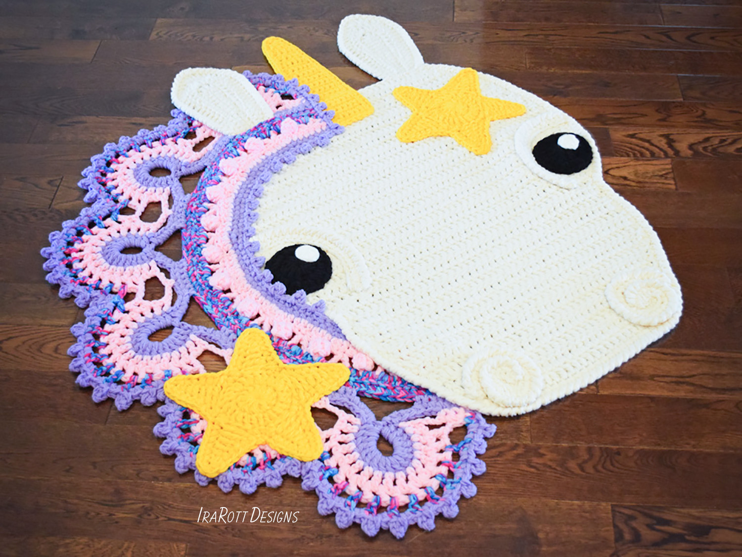 Sophia The Starry Unicorn Rug PDF Crochet Pattern IraRott Inc Classy Unicorn Crochet Pattern