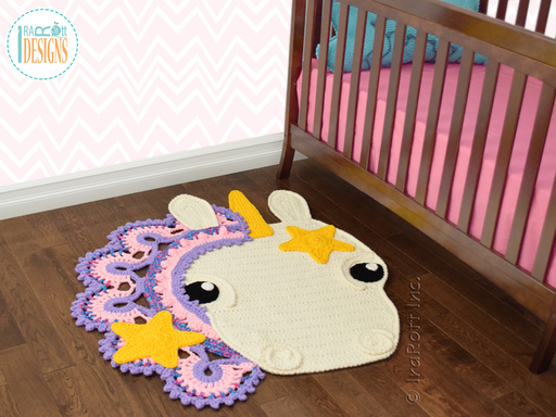 Crochet pattern PDF by IraRott for making a beautiful unicorn rug or reading mat