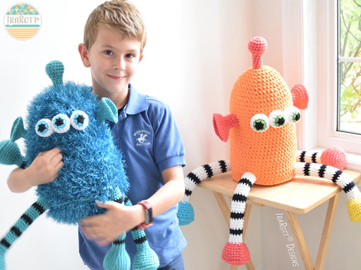 Alien Monster Hat with a matching Alien Stuffed Toy Crochet Pattern for boys and girls of all ages