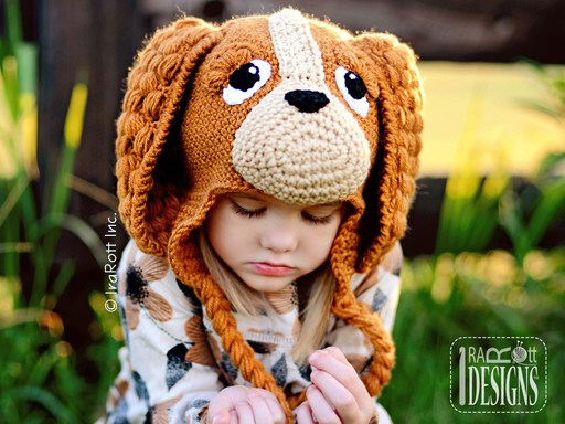 PDF Crochet Pattern for making a cute Spaniel Hat with long Ears for all sizes.