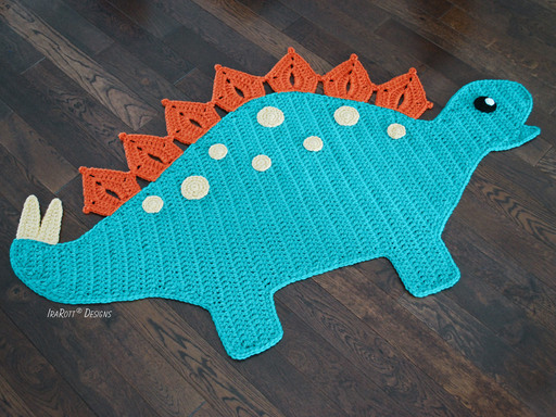Crochet Pattern PDF for making a cute Stegosaurus DIno Dinosaur Rug by IraRott Inc.