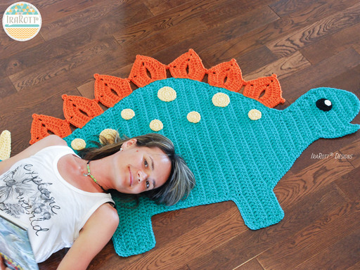 Dino Dinosaur Stegosaurus Rug Nursery Mat Crochet Pattern for Babies Kids and Infants
