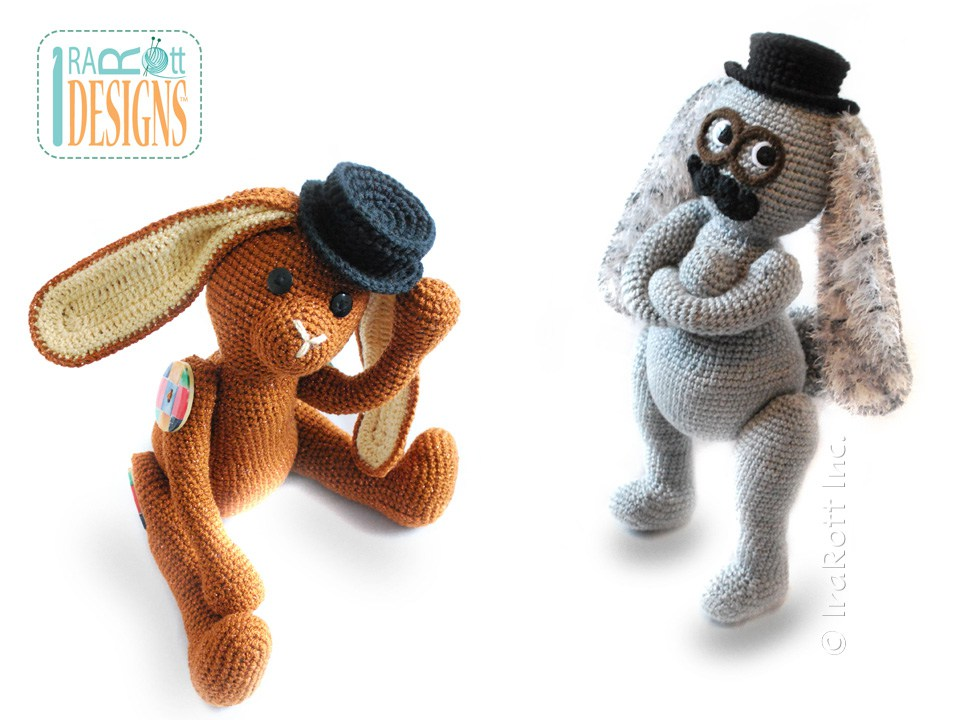 Sam The Steampunk Bunny With Fedora Hat And Mustache Amigurumi Toy
