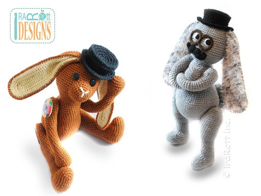 PDF Crochet Pattern for making a Stylish Steampunk Bunny with Fedora Hat and Mustache Amigurumi Toy