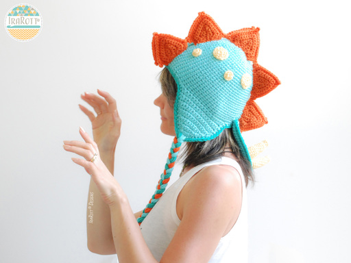 Crochet Pattern PDF for making a cute Stegosaurus DIno Dinosaur Hat by IraRott Inc.