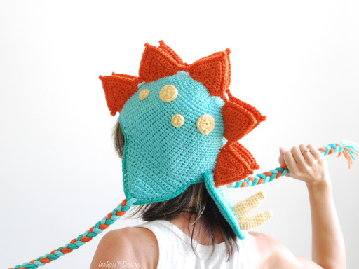 PDF Crochet Pattern for making a cute Stegosaurus DIno Hat by IraRott Inc.
