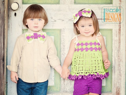 Summer top with Headband for Girls and Matching Bow Tie for Boys Crochet Pattern