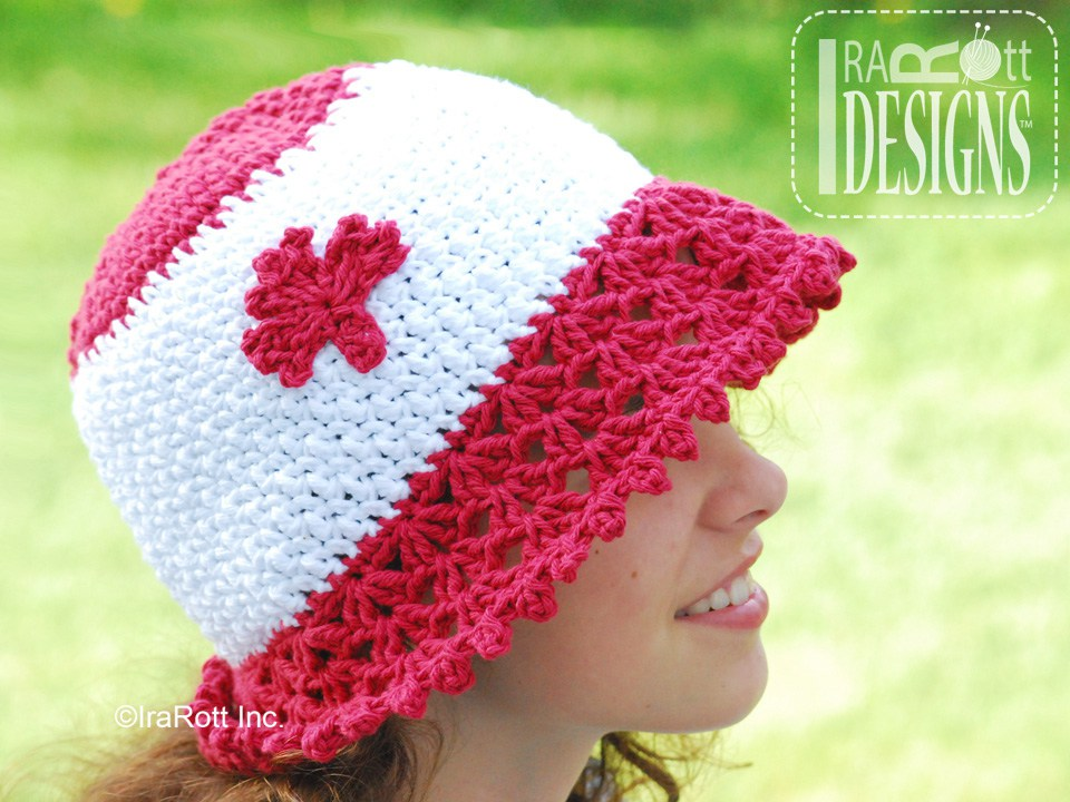 My Little Sunshine Summer Hat With Maple Leaf Applique Pdf Crochet