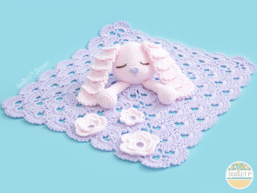 Crochet Pattern PDF for making an adorable Easter Bunny Lovey Security Blanket for Kids and Babies