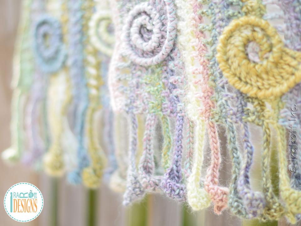 Sunrise Seashells Wavy Scarf Pdf Crochet Pattern Irarott Inc