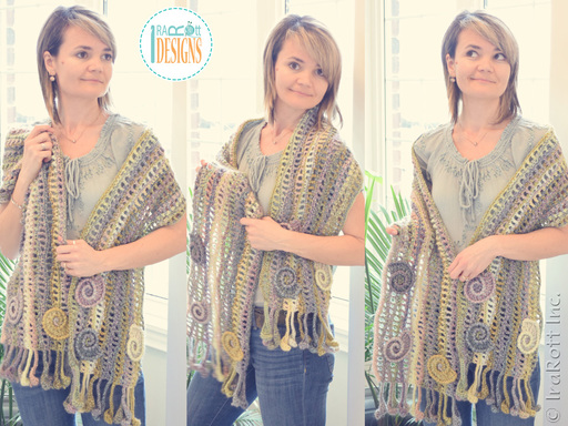 Free crochet pattern PDF by IraRott for making a beautiful wavy scarf with seashells using Mary Maxim Studio yarn