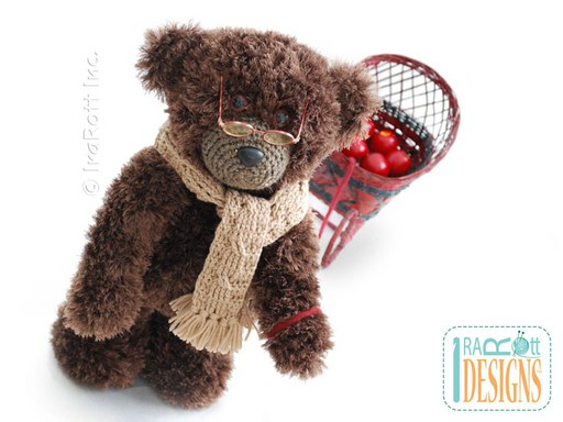 Crochet Pattern PDF for making a Furry Elvis Teddy Bear Stuffed Animal with Cabled Scarf