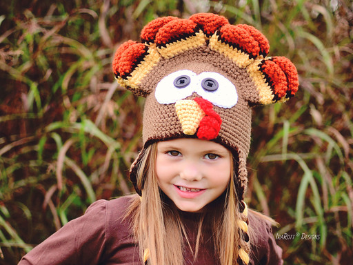 Crochet Pattern PDF for making a colorful Turkey hat for Thanksgiving or Halloween