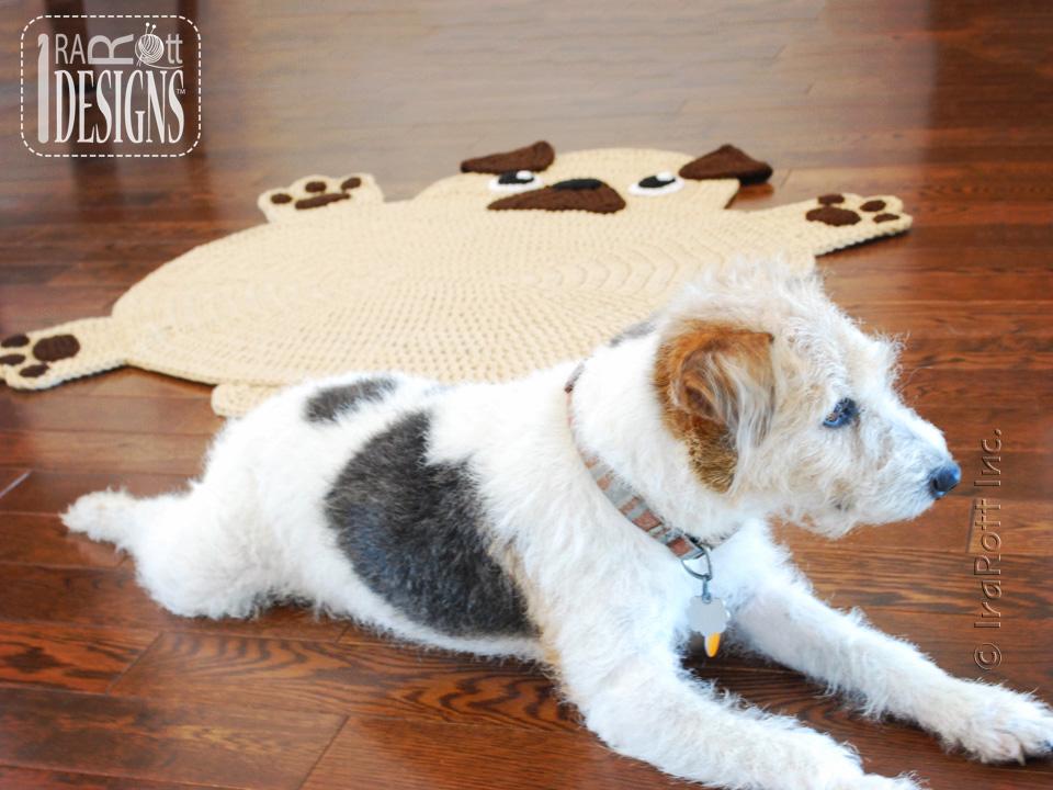 Free Crochet Pug Rug Pattern : The Pugfect Pug Rug PDF Crochet Pattern - IraRott Inc.