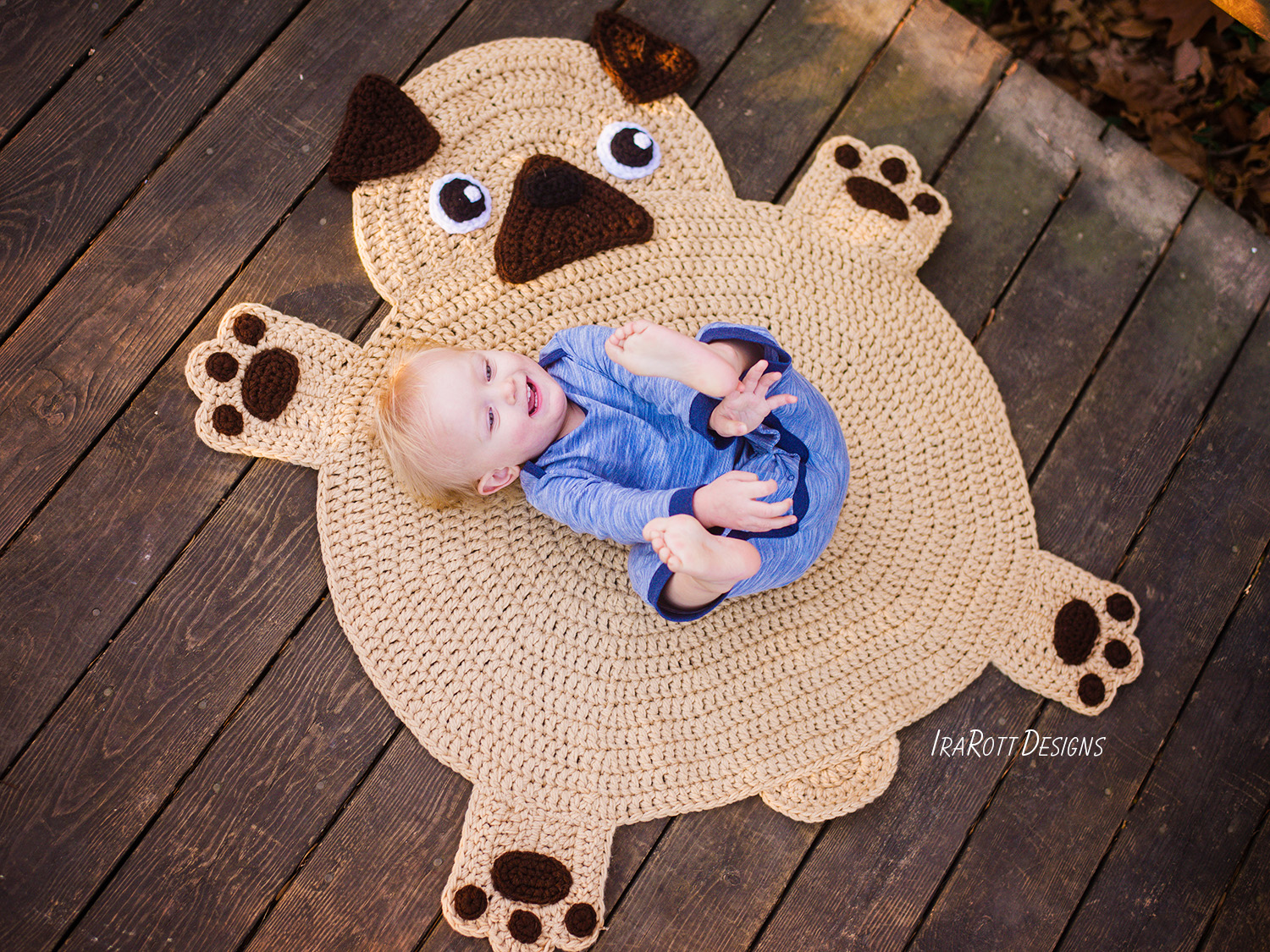 The Pugfect Pug Rug Pdf Crochet Pattern Irarott Inc
