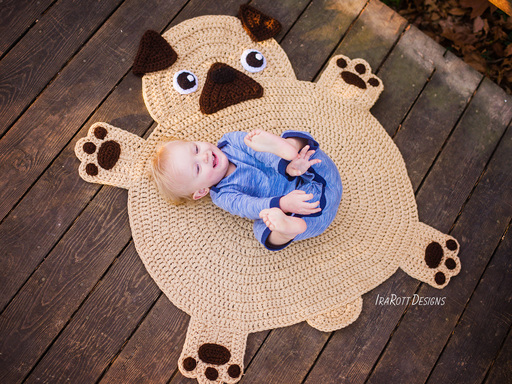 Pug Puppy Dog Animal Rug Nursery Mat Crochet Pattern for Babies Kids and Infants