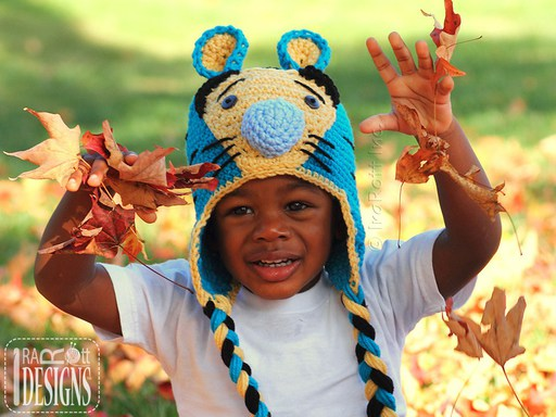 Tiger Animal Hats Crochet Patterns for babies kids and adults by IraRott