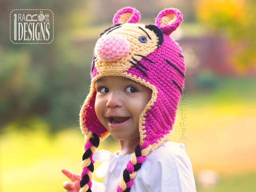 Tiger Animal Hats Crochet Patterns for boys and girls of all ages by IraRott