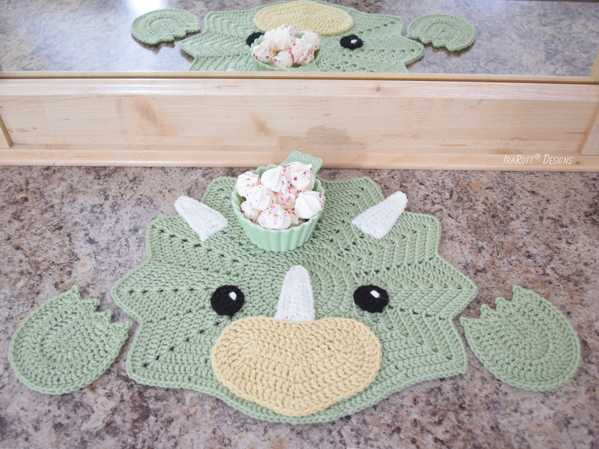 Tops The Triceratops Dinosaur Placemat PDF Crochet Pattern by IraRott
