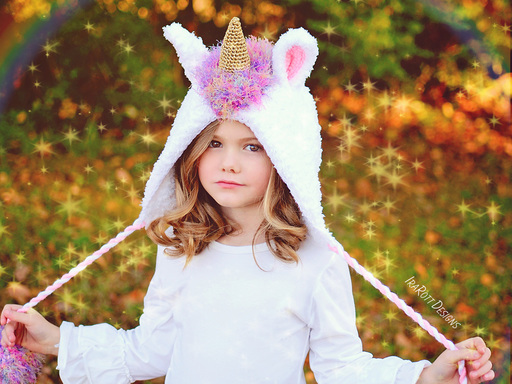 Crochet Pattern PDF for making a Rainbow Unicorn Animal Hat Bonnet with Furry Mane and Pom Poms