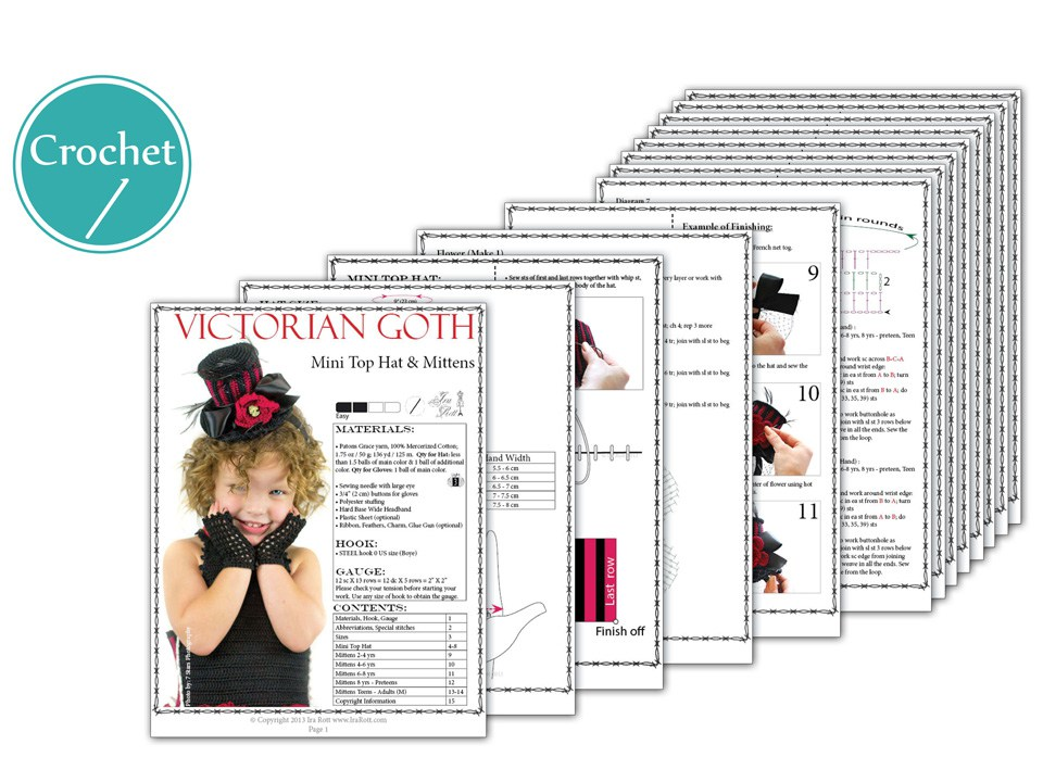 PDF Crochet Pattern for making a Steampunk Style Mini Top Hat and Mittens  for all sizes f66ff3bfe1e