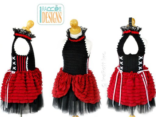 PDF Crochet Pattern for making a Gothic Steampunk Style Top with Ruffles for Halloween