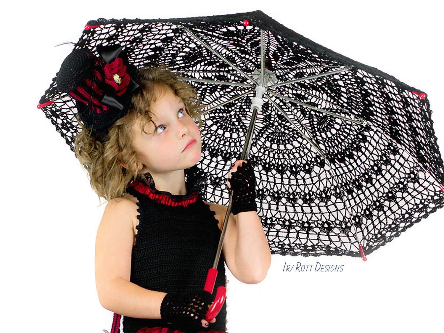 PDF Crochet Pattern For Making A Stunning Gothic Steampunk Style Lace Parasol Umbrella Kids