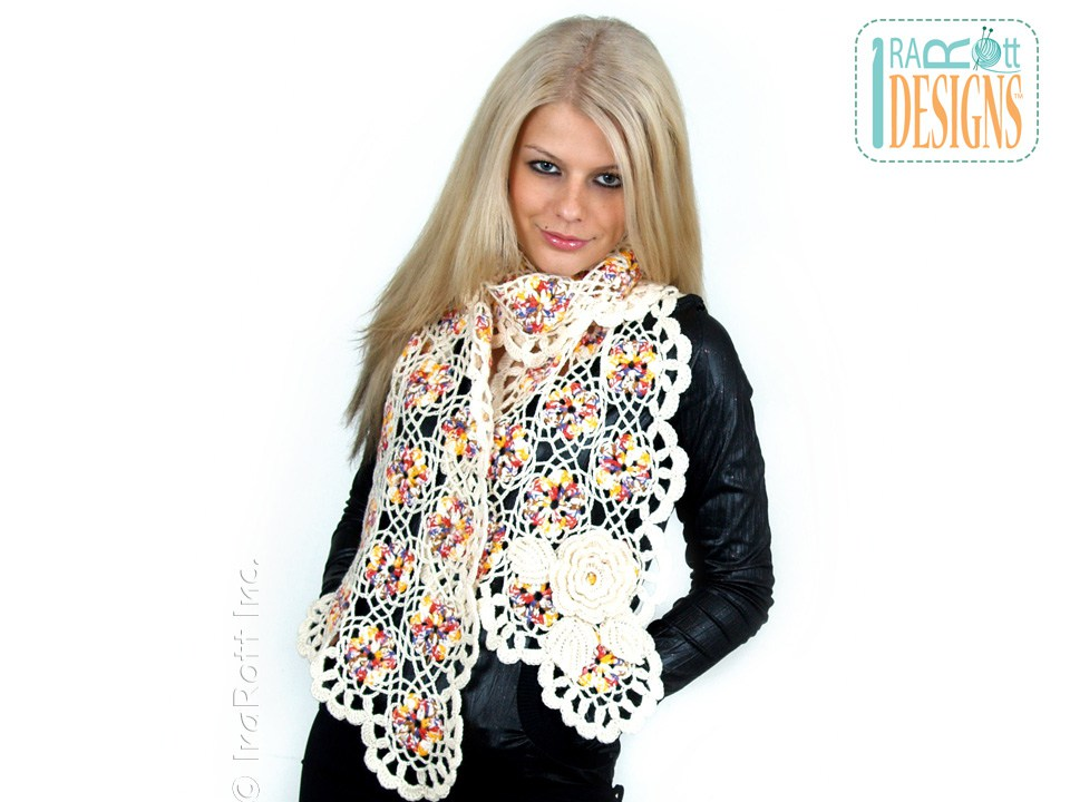 Crochet Patterns Vogue : Vogue Flower Scarf PDF Crochet Pattern - IraRott Inc.