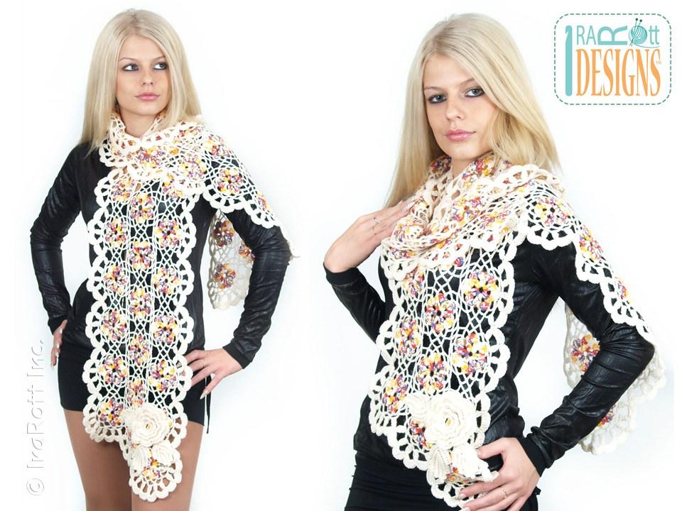 Vogue Flower Scarf PDF Crochet Pattern - IraRott Inc.