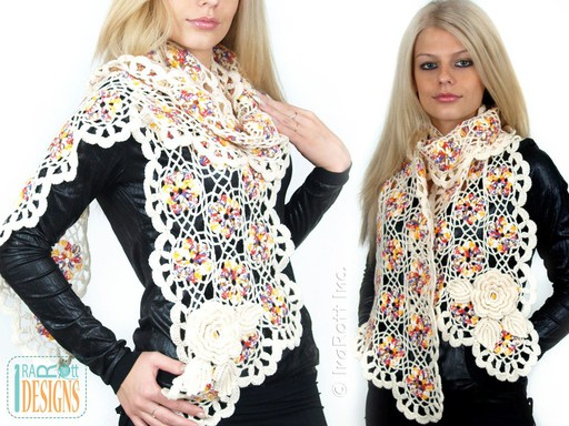 Lace Motif Scarf Crochet Pattern by IraRott