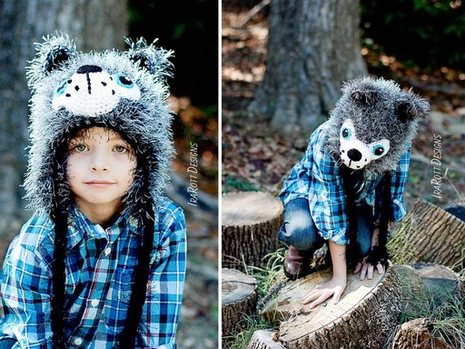 Wolf Animal Hat Crochet Pattern for Boy and Girls of all ages by IraRott
