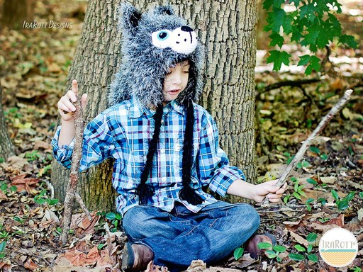 Wolf Animal Hat Crochet Pattern for Babies Kids and Adults by IraRott