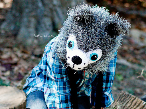 PDF Crochet Pattern for making a cute Furry Wolf Hat with Tail and Regular Non-Furry Hat for all sizes.